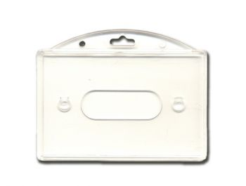 Badgehouders met duimsleuf voor 1 kaart, horizontaal, voorkant glashelder